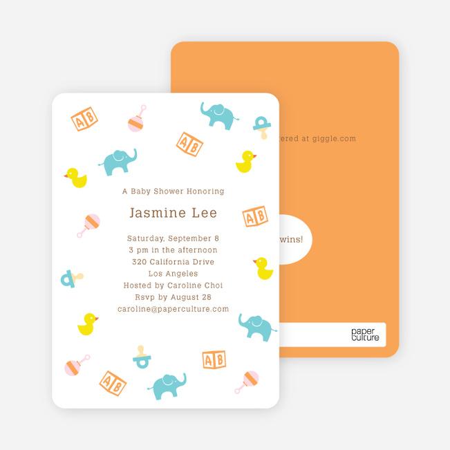 The Baby Classics Baby Shower Invitations: Bears, Ducks, Blocks, Pacifiers and Rattles - Orange