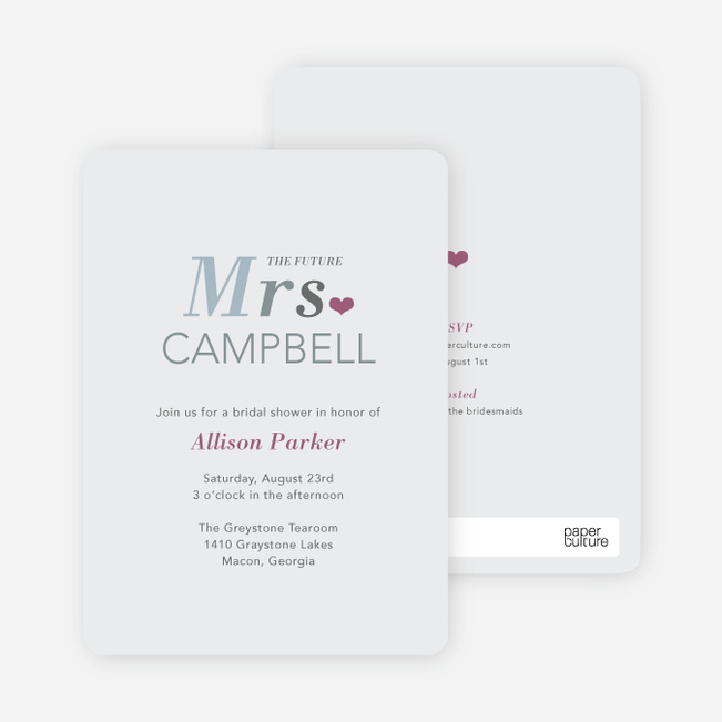 The Future Mrs. Bridal Shower Invitations - Grey