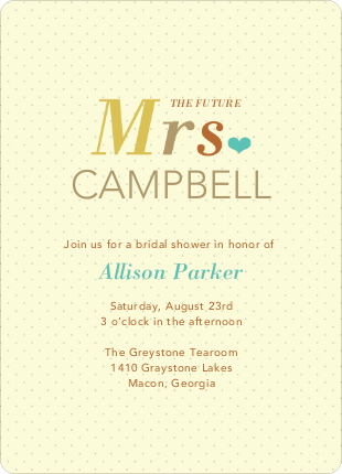 The Future Mrs. Bridal Shower Invitations - Yellow