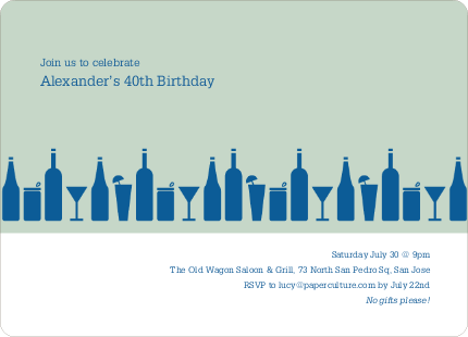 Top Shelf Liquor And Cocktails Birthday Party Invitations