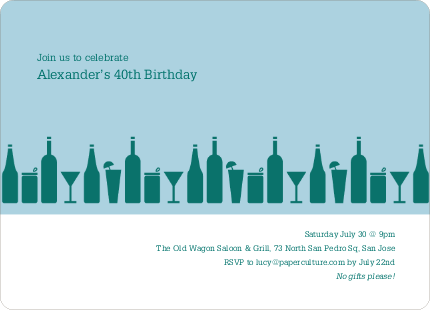 Top Shelf Liquor and Cocktails Birthday Party Invitations - Green