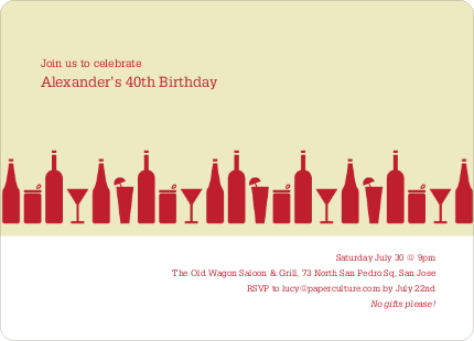 Top Shelf Liquor and Cocktails Birthday Party Invitations - Red