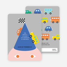 Traffic Jam Cars, Busses and Trucks Birthday Party Invitations - Blue