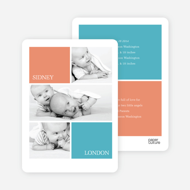 Twin Photos Birth Announcements - Orange