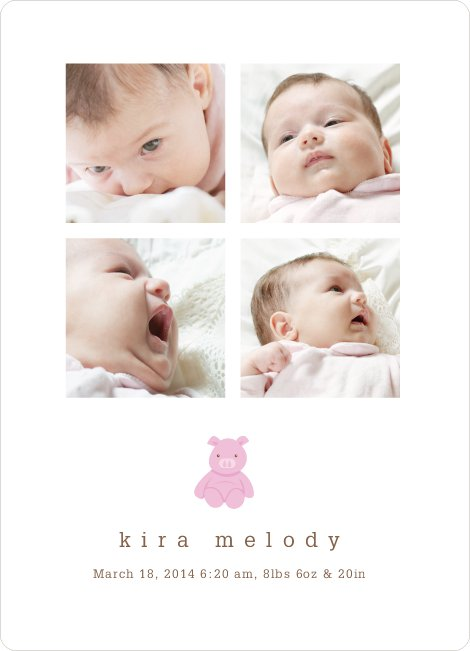 Stuffed Animals Birth Announcements: Rabbit, Pig, Bear and Cat - Pink