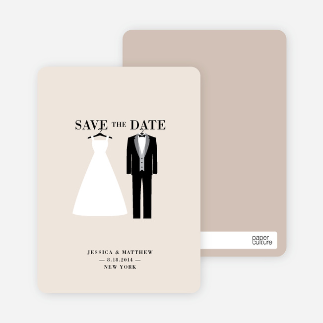 Wedding Dress and Tuxedo Save the Date Cards - Orange