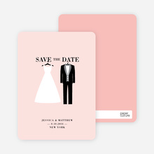 Wedding Dress and Tuxedo Save the Date Cards - Pink