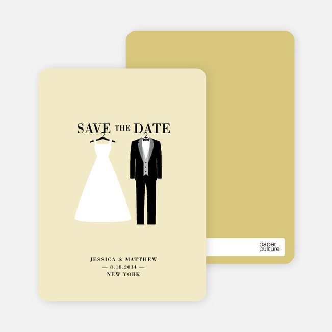 wedding dress and tuxedo save the date cards paper culture