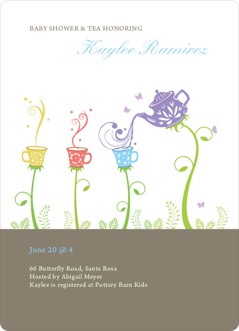 garden tea party baby shower invitation paper culture