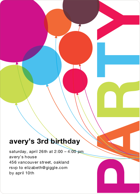 rainbow balloons birthday party invitations  paper culture, party invitations
