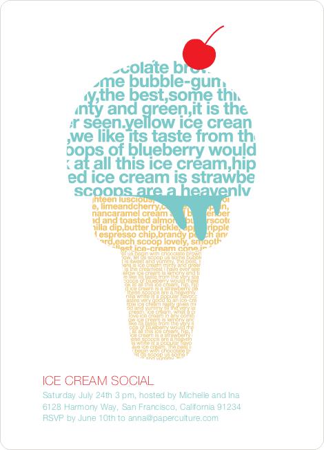 Ice Cream Social Summer Party Invitations | Paper Culture