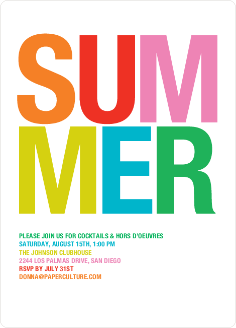 Ultra Modern Summer Party Invitations – Summer Party Invite