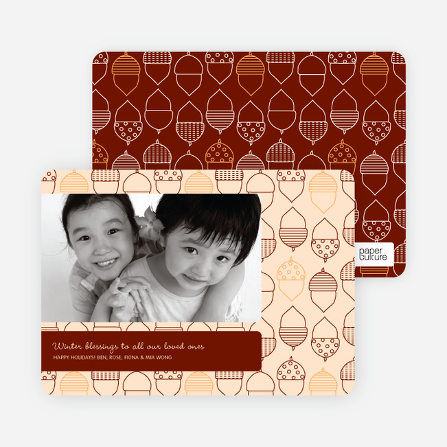 Acorn Blessings Holiday Photo Cards - Orange Sherbet