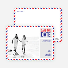 Airmail Save the Date Photo Cards - Red Candy