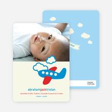 Airplane Themed Photo Baby Announcement - Denim Blue