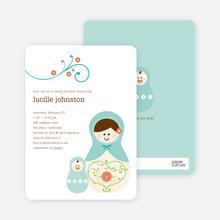 Babushka Nesting Dolls Shower Invitations - Turtle Turquoise