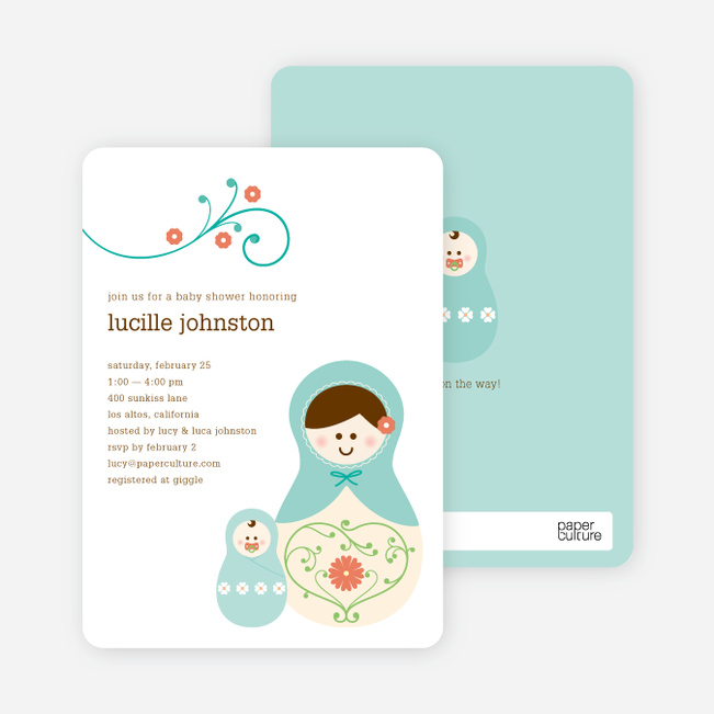 Babushka Nesting Dolls Shower Invitations - Turtle Turquoise