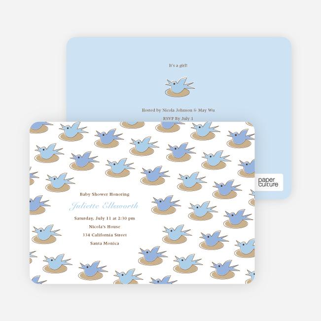 Baby Bird Shower Invitation - Sky Blue