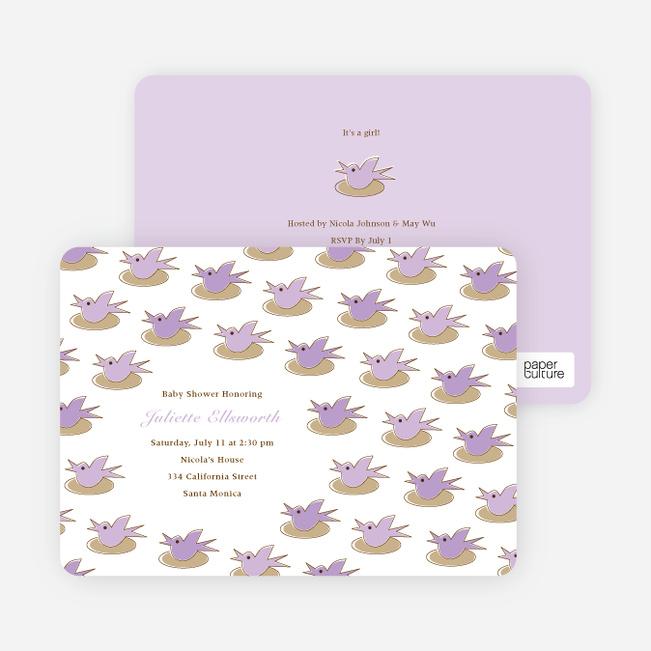 Baby Bird Shower Invitation - Lavender