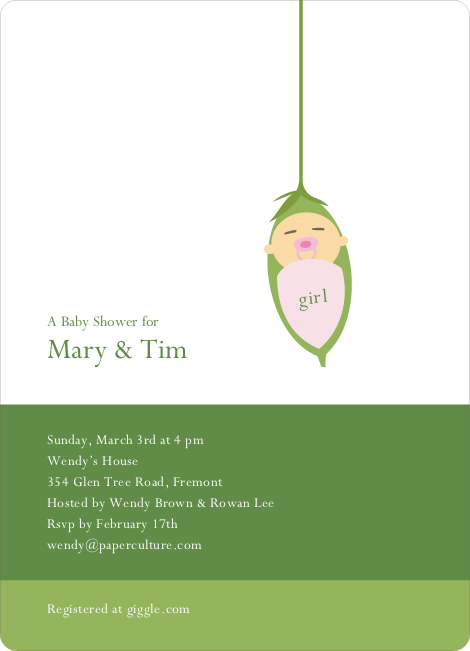 Baby Bud Baby Shower Invitations - Pink Pacifier