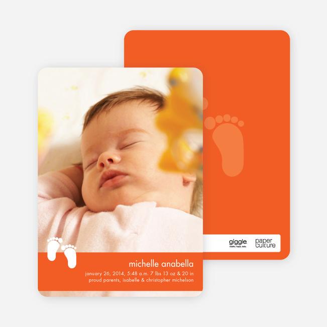 Baby Feet Birth Announcements - Tangerine