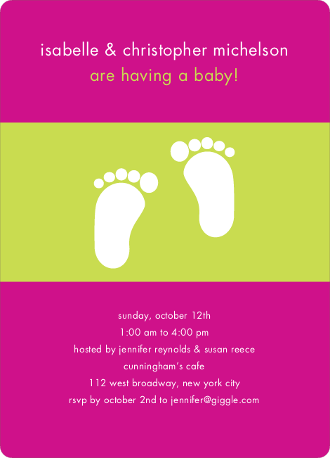 Baby Feet Shower Invitations - Fuchsia