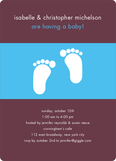 Baby Feet Shower Invitations - Raisin