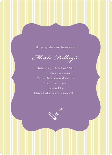 Baby Pin Shower Invitation - Yellow