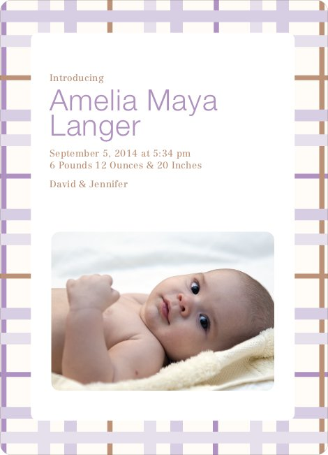 Baby Quilt Photo Birth Announcements - Lavender