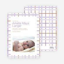 Baby Quilt Photo Birth Announcements - Lavender