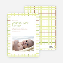 Baby Quilt Photo Birth Announcements - Celery