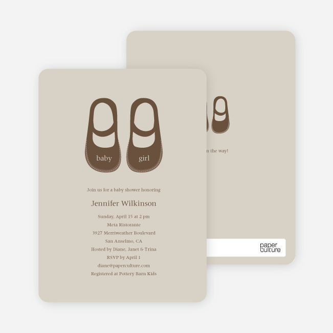 Baby's Got a New Pair of Shoes Baby Shower Invitations - Sand