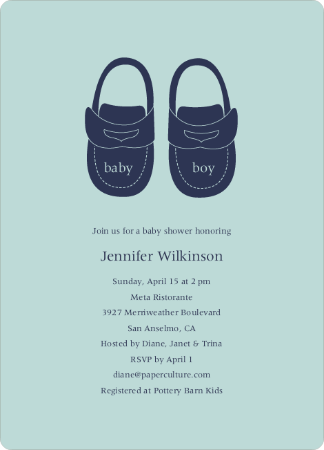 Baby's Got a New Pair of Shoes Baby Shower Invitations - Powder Blue