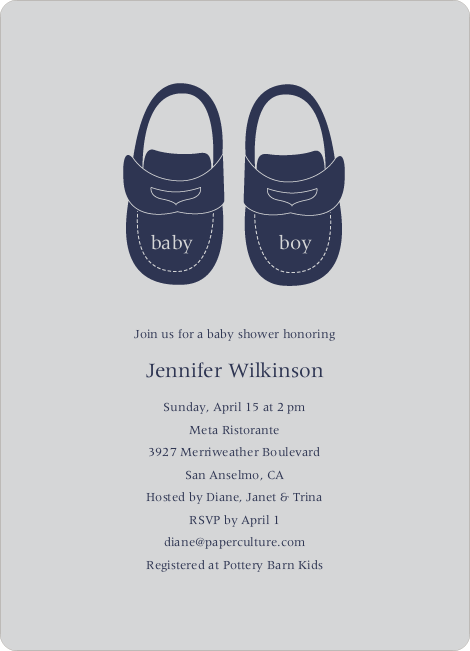Baby's Got a New Pair of Shoes Baby Shower Invitations - Light Silver