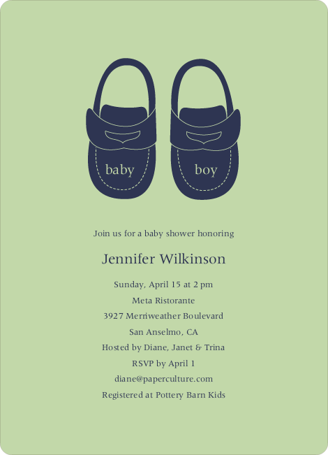 Baby's Got a New Pair of Shoes Baby Shower Invitations - Celadon