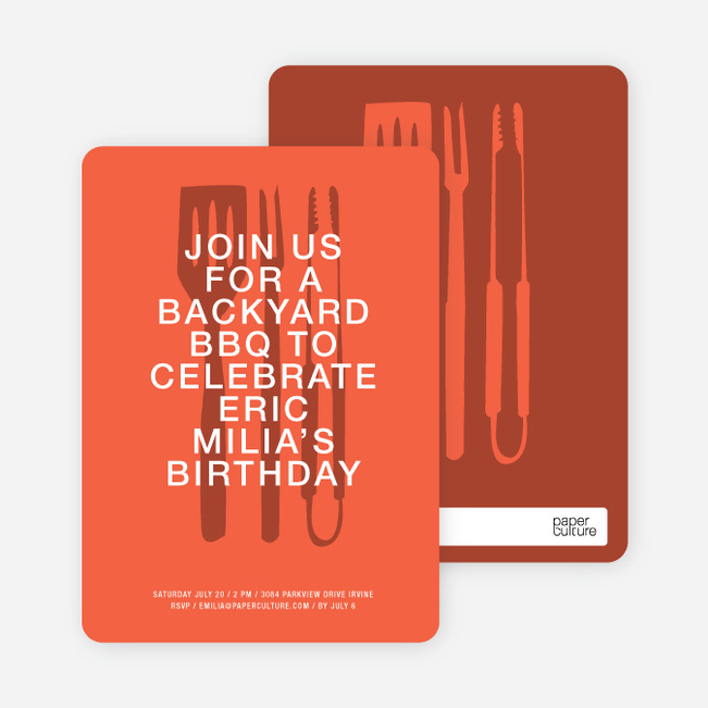 Backyard BBQ Invitations - Medium Red