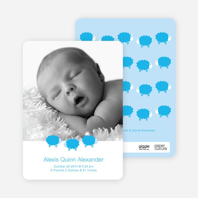 Bah Bah Blue Sheep Baby Announcements - Cornflower
