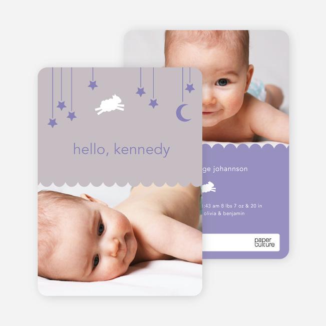 Bah Bah White Sheep Birth Announcements - Purple Moon