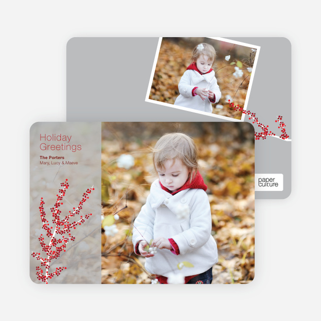 Holiday Greeting Cards: Berry - Silver