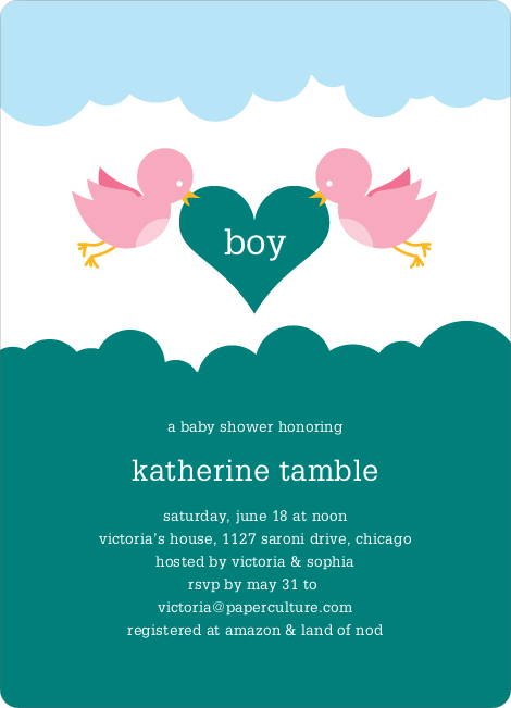 Bird Messenger Modern Birthday Invitations - Turquoise
