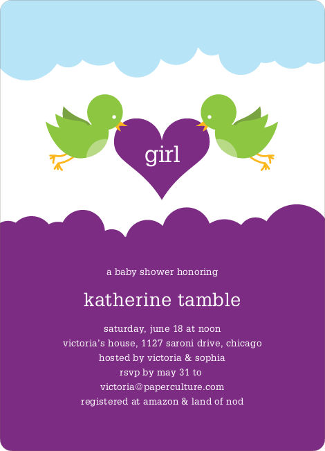 Bird Messenger Modern Birthday Invitations - Violet