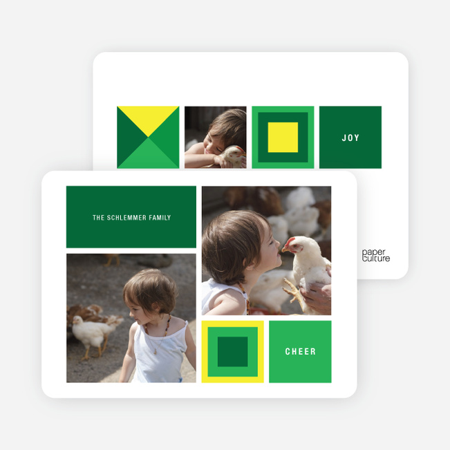 Blocks and Picks Holiday Photo Cards - Forest Green