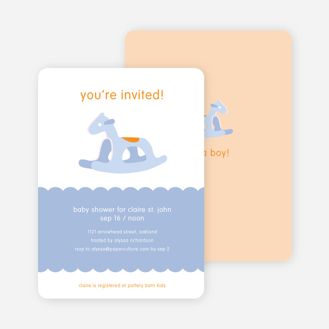 Blue Rocking Horse Baby Shower Invitations - Baby Blue