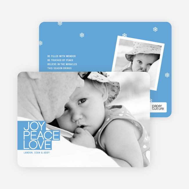 Bold Christmas Cards: Joy, Peace & Love - Sky Blue
