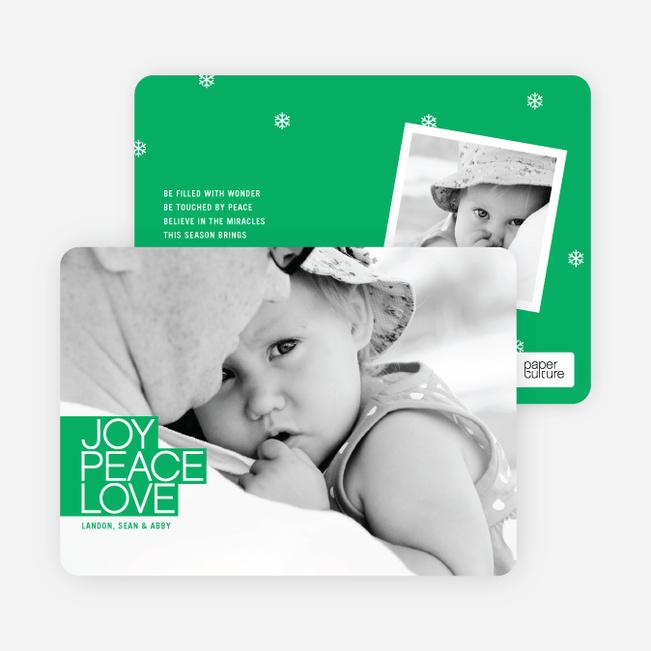 Bold Christmas Cards: Joy, Peace & Love - Shamrock Green