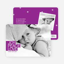 Bold Joy, Peace & Love Holiday Photo Cards - Magenta