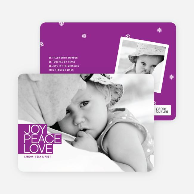 Bold Joy, Peace & Love Holiday Photo Cards - Magenta