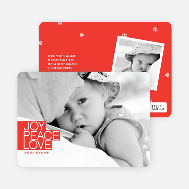 Bold Christmas Cards: Joy, Peace & Love - Cardinal Red