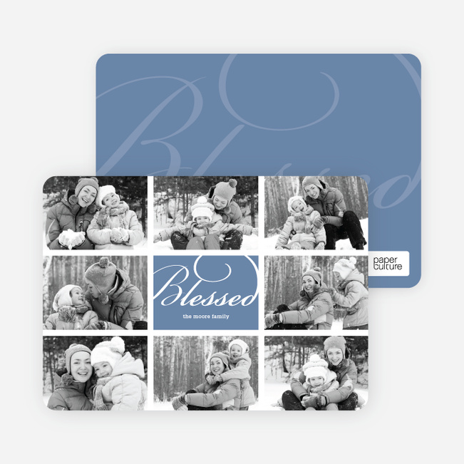 Brady Bunch Holiday Photo Cards - Mystic Blue
