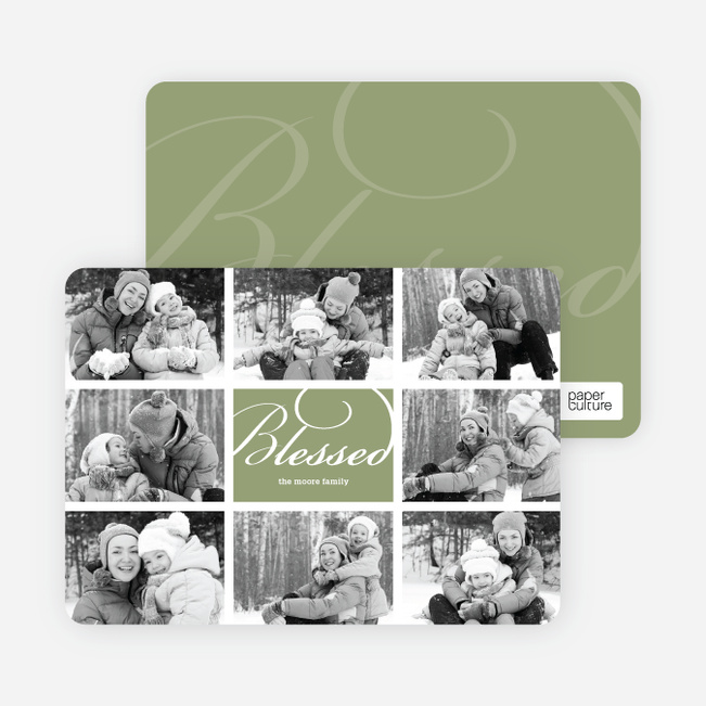 Brady Bunch Holiday Photo Cards - Celadon